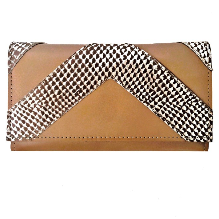 Billetera de cuero beige con dorado PLUM - Lucia