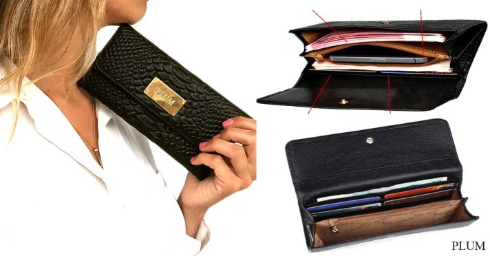 billetera de cuero negra luisa long post