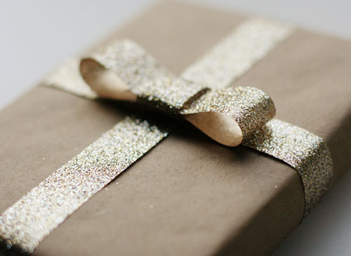 Gold-Glitter-Bow-Kraft-Paper-Gift-Wrapping